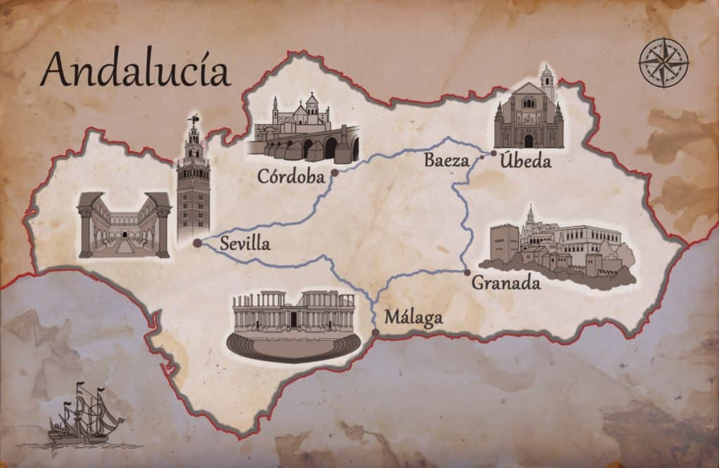 andalusia UNESCO sites map