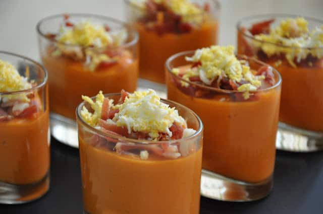 spanish salmorejo with ham and egg